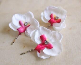 SALE Orchids Bridal Hair Pins, Wedding Hair Flowers, White Pink Hair Accessories, Bridal Orchids, Flower Hair Clips, Rhinestone Flowers