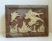 Walnut Wood Incolay Marbled Stone Men's Dresser Wild Geese Box