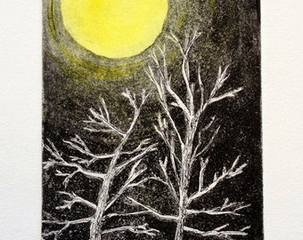 Bare Naked in the Moonlight is an original small copper plate etching, hand colored with watercolor to make the moon glow.