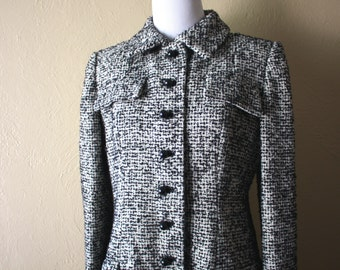Vintage Bill Blass Black and White Wool Boucle Coat