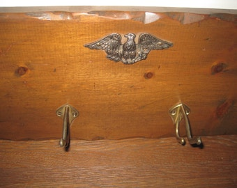 Vintage Wood Coat /Towel Rack with 4 Brass Hooks and Eagle