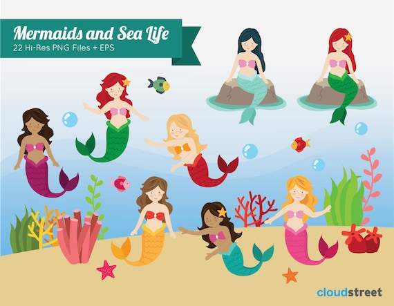 buy 2 get 1 free Mermaids and sea life Clipart for personal and commercial use ( cute mermaid clip art ) vector illustration