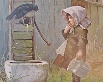 Charming Antique Book Illustration-Little Girl Allows Crow To Get Water From Well
