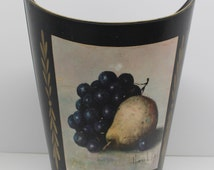Vintage Black Metal Trash Can With Fruit Decal
