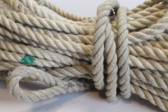 Vintage three strand twisted nautical rope for Heavy rope for nautical use