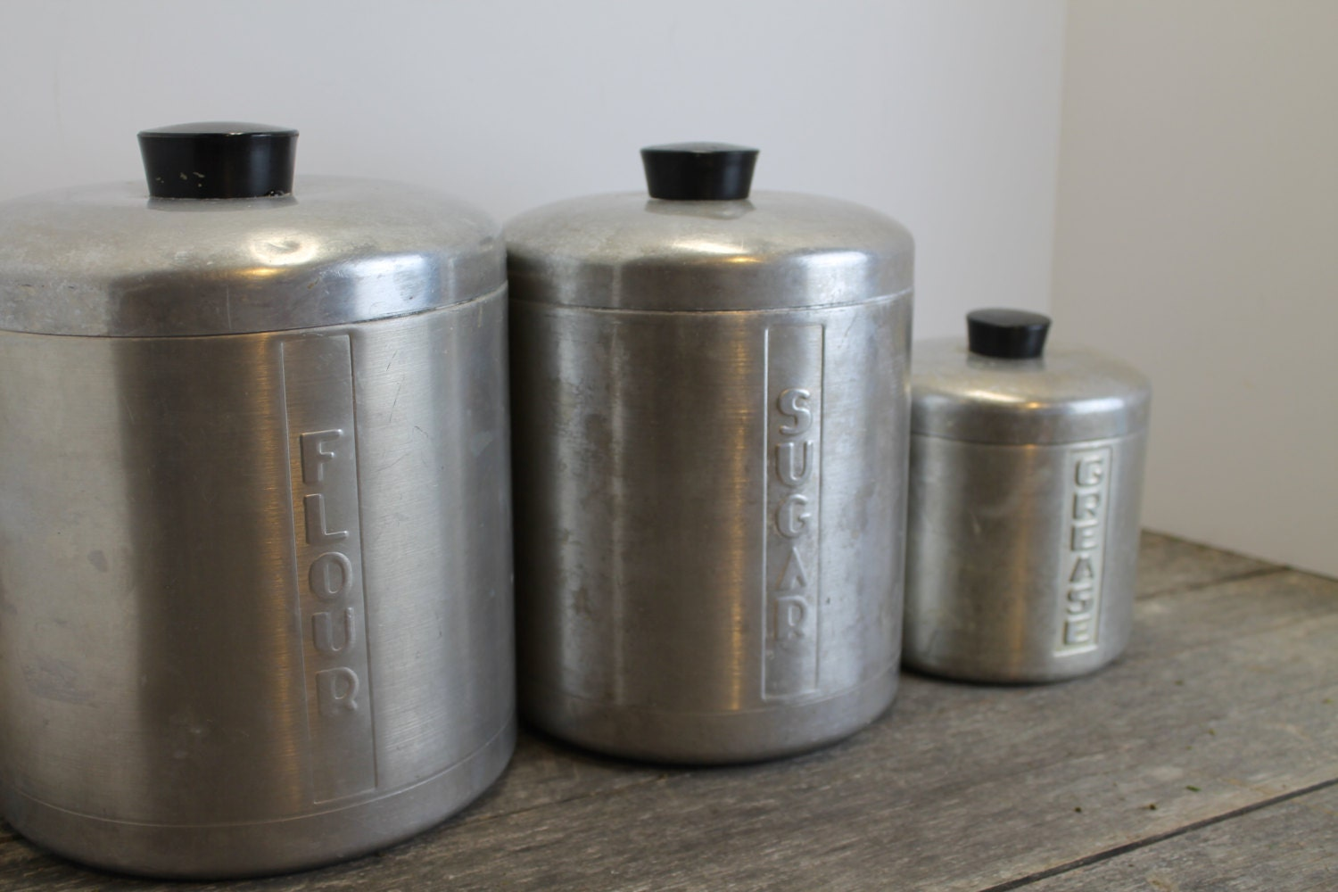 3 vintage aluminum canisters flour sugar grease