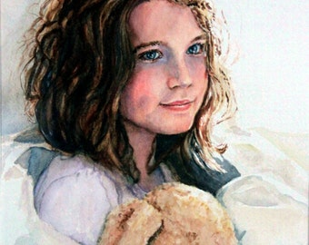 """Original Watercolor Painting: Young girl and her cuddly """"Teddy"""""""