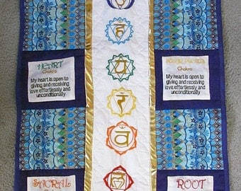 Embroidered Hanging Chakra Quilt