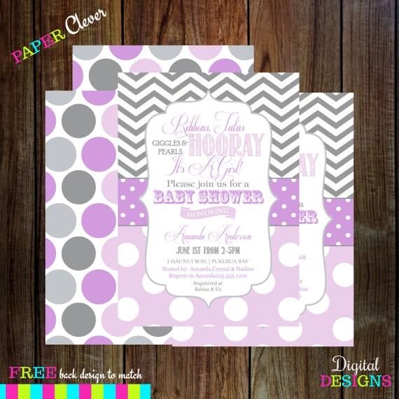 Purple Girls Baby Shower Invitations