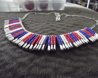 Red, blue, and silver safety pin necklace