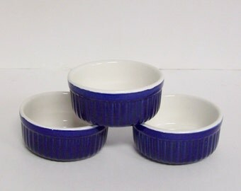 COBALT BLUE RAMEKINS - Small Oven-proof Glazed Ceramic Dishes for Custards, Souffles or Baked Entrees