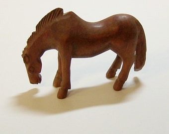1930s CARVED BAKELITE HORSE - Antique Carving of a Grazing Horse