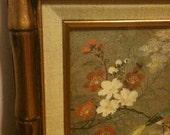 Asian Bird Painting Bamboo Frame Signed