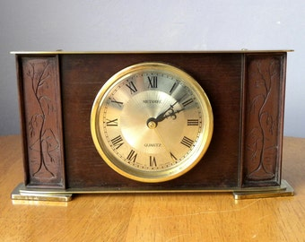 Vintage Metamec Clock Wooden Battery Mantel Shelf 1960's
