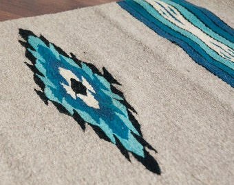 Vintage Blue and Gray Woven Southwestern Rug