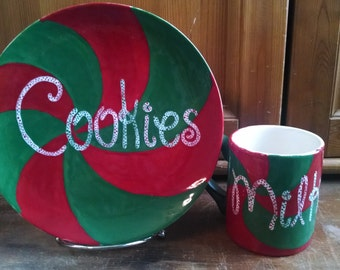 75% OFF! Adorable Santa Plate and Mug Set.  Cookies for Santa, Milk for Santa.  Christmas set! Merry Christmas! Hand Painted
