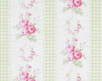 "Last 24"" REMNANT - Tanya Whelan - Free Spirit Fabric - Slipper Roses - Country Ticking - Green"