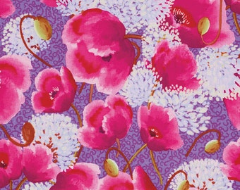 Nel Whatmore - Free Spirit Fabric - Memory Lane - Sweet Poppies - Purple - Choose Your Cut-1/2 or Full Yard
