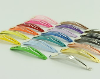 48 Blank BARRETTE Snap Clips w/ Glue Pads CHOOSE COLOR (Tear Drop Shape) 50 mm/2 inches
