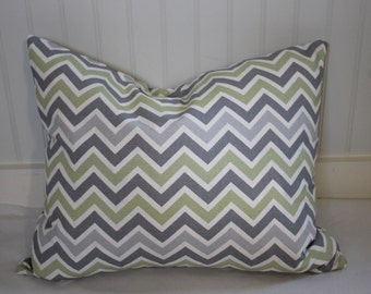 Grey, Green and Ivory Chevron Pillow Cover / 16 X 20 /  Same fabric both sides