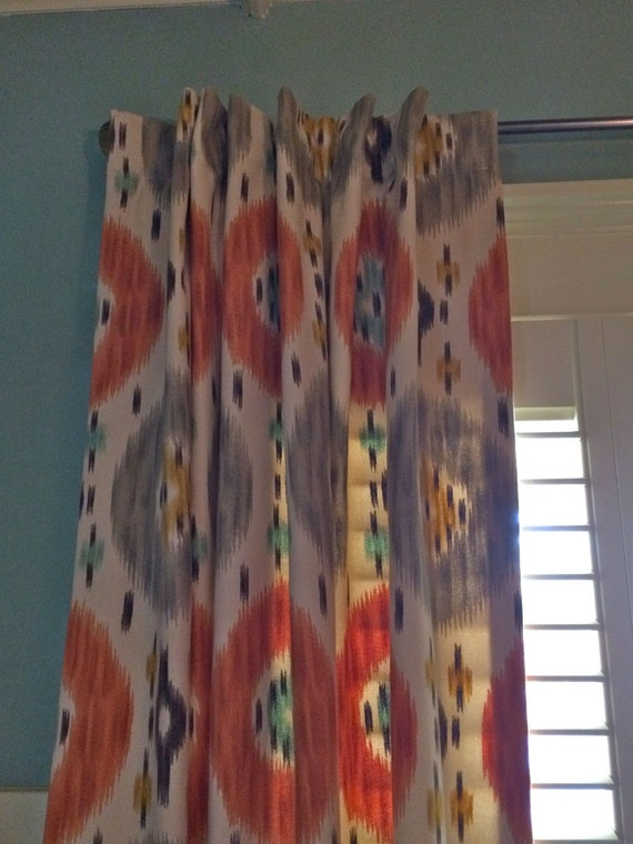 Items similar to aqua yellow orange brown and ivory ikat - Orange and brown curtains ...