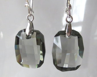 Black Diamond Graphic Style Crystal Earrings with Sterling Silver Bails and Earwires