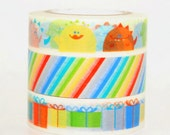Monster Stripes and Gift Boxes Washi Tape Set of 3 Rolls - 12m Washi Masking Tape Gift Wrapping