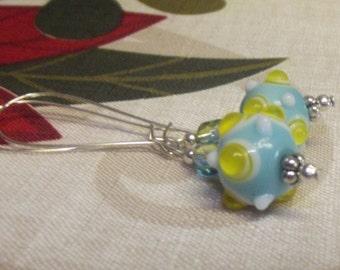 Bumpy Lampwork  Glass Aqua Yellow Silver Kidney Hooks Earrings Free Shipping Gift Boxed