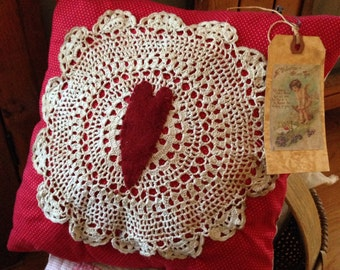 Primitive Valentine's Day Pillow Tuck~ Prim Decor~ Red and White~ Love~ Cupid