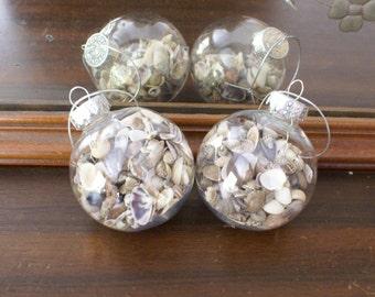 Seashell ornament - 2 christmas ornaments - shell ornament - handmade ornament - beach coastal Christmas