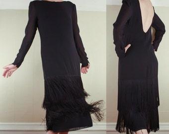 70's Fringed DRESS Formal Party // Navy Blue // Long Fringe // 1930's Style // Size Medium