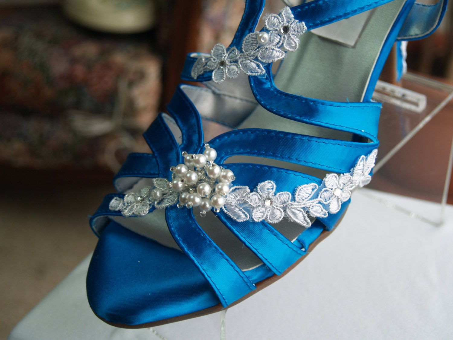Wedding Turquoise Blue Shoes Reg And Wide Width Silver Trim