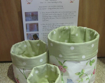 Instant download Round Fabric Basket tutorial PDF easy sewing instructions