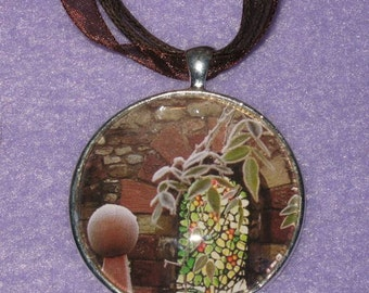 Stained Glass - 40mm silver plated picture pendant