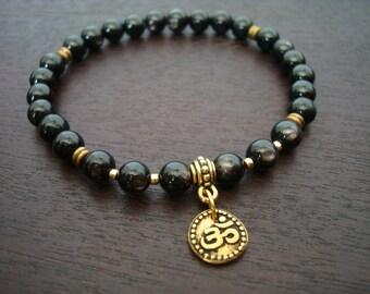 Spiritual Shakti Mala Bracelet - Hypersthene & Gold or Silver Om Mala Bracelet - Yoga, Buddhist, Prayer Beads, Jewelry