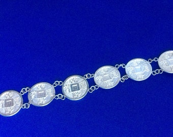"Vintage Silver ""Qian Long Tong Bao"" Coin Bracelet - in decorated gift box - Sale"