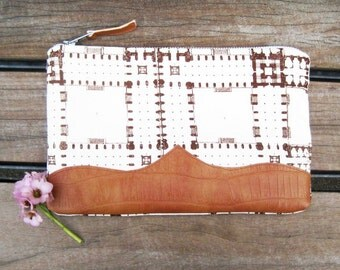 Cotton Leather Clutch Bag with Blueprint