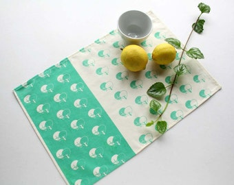 Mint or brown placemats screen printed with trees pattern -  Cotton tablemats set x 2