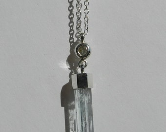 Natural Untreated 5.24 Carat Rough Aquamarine Crystal & Diamond Pendant with Chain .925 Sterling