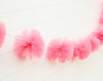 Shocking pink, tulle garland Party decorations, weddings, baby showers, room decor