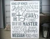 Names of Jesus Savior Master Redeemer Emanuel King of Kings Holy He is Risen Easter Christian Art Scripture Inspirational Motivational Gift