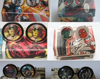 Comic cufflinks// custom made// recycled comic cufflinks
