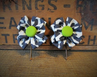 Bobby Pins with Bow-Like Print Fabric Flowers and Covered Button Centers