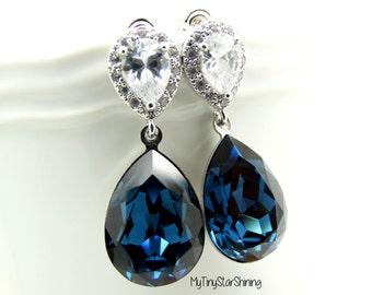 Royal Blue Earrings Dark Blue Earrings Swarovski Earrings Bridesmaid Gift Bridal Earrings Wedding Jewelry Post Earrings Dark Blue Jewelry