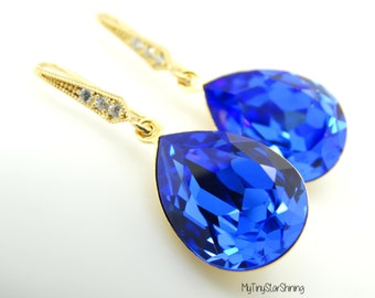 Sapphire Blue Earrings Swarovski Crystal Earrings Bridesmaid Gift Sapphire Earrings Gold Something blue Jewelry 14k Gold Necklace
