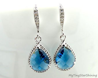 Blue Sapphire Earrings Wedding Jewelry Bridal Earrings Bridesmaid Gift Blue Earrings Teardrop Earrings Blue Jewelry Dangle Earrings