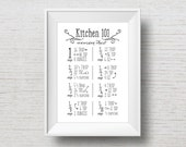 Kitchen 101 // Baking Conversion Chart // Cooking Conversions // Typography // Hand Lettering Style // Instant Digital Download