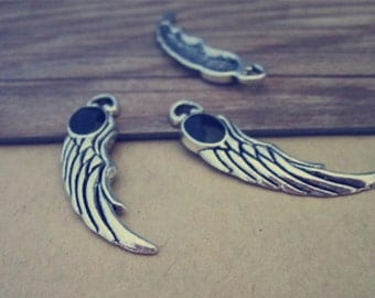 12pcs antique silver wings Charms pendant 9mmx36mm