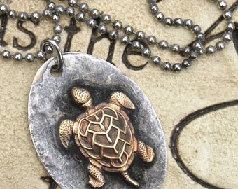 "Soldered Rustic Sea Turtle Pendant Necklace on 18"" Sterling silver Ball Chain Necklace Brass turtle stamping"