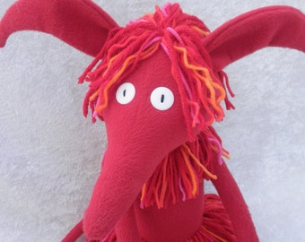 Wild Thing critter, Red soft sculpture creature, Razz the Creature
